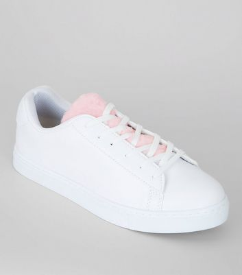 White Faux Fur Tongue Trainers