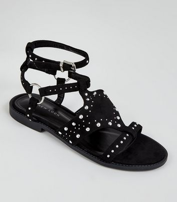 Black Suedette Studded Sandals