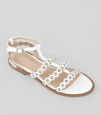 White Stud Gladiator Sandals