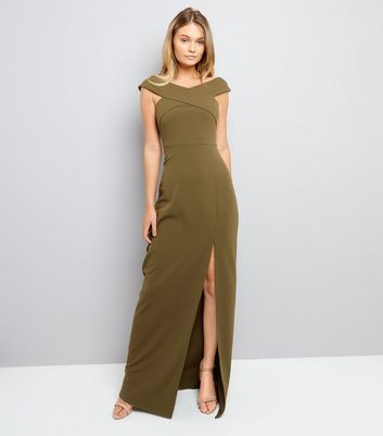 AX Paris Olive Green Bardot Neck Slip Side Maxi Dress