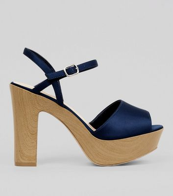 Wide Fit Navy Wooden Effect Platform Block Heels
