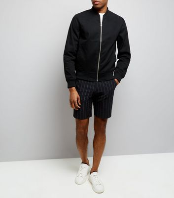 Black Pinstripe Seersucker Tailored Shorts