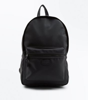 "Schwarzer Rucksack in Leder-Optik mit ""London Design""-Label"