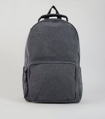Black Washed Canvas Backpack