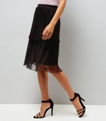 Black Layered Pleated Midi Skirt