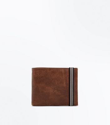 Brown Stripe Elastic Textured Wallet