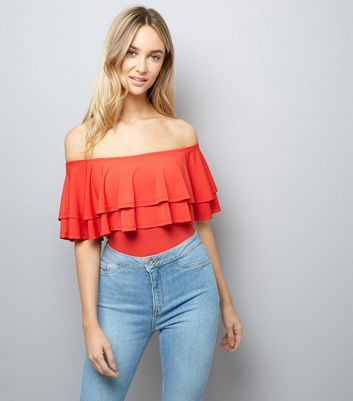 Red Layered Frill Trim Bardot Neck Bodysuit