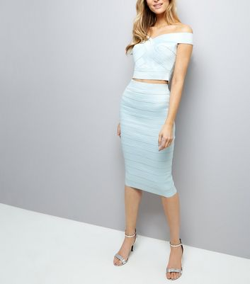 Pale Blue Bandage Pencil Skirt