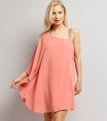 Pink Chain Strap Off the Shoulder Dress