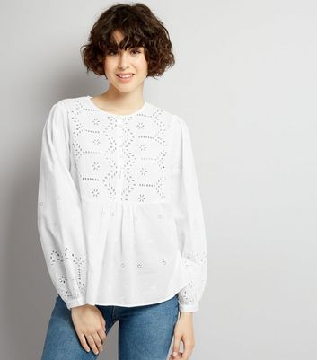 White Cut Out Detail Long Sleeve Top