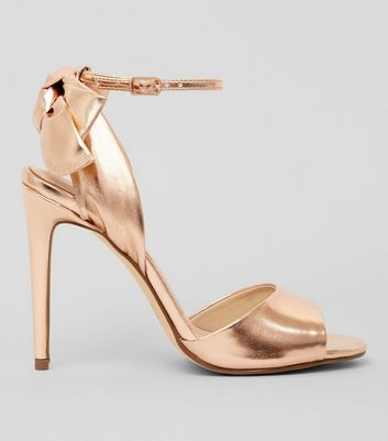 Rose Gold Bow Heeled Sandals