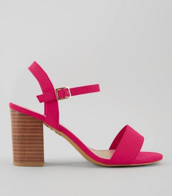 Wide Fit Pink Wooden Heeled Sandals