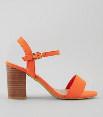 Wide Fit Orange Wooden Block Heels