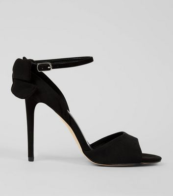 Black Suedette Bow Back Heels