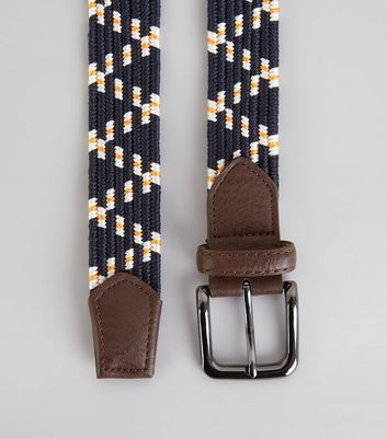 Navy Zig Zag Elasticated Belt