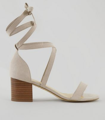 Wide Fit Grey Suedette Ankle Tie Heeled Sandals