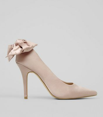 Shell Pink Satin Bow Back Court Heels