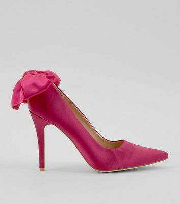 Pink Satin Bow Back Pointed Court Shoes