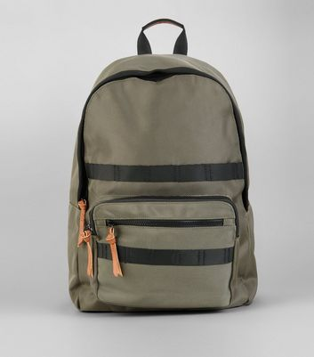 Khaki Contrast Trim Backpack