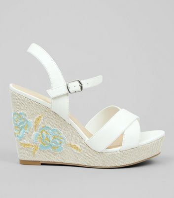 Wide Fit White Floral Embroidered Wedges