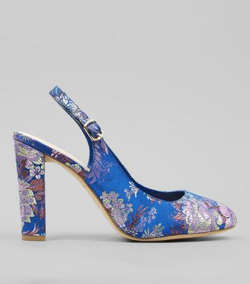 Wide Fit Blue Floral Brocade Sling Back Heels