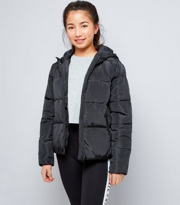Teens Black Hooded Puffer Jacket