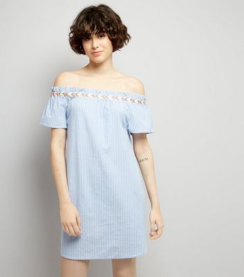 Blue Striped Embroidered Trim Cold Shoulder Dress