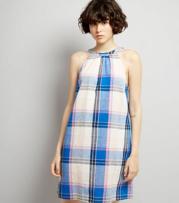 Blue Check Tie Back Shift Dress
