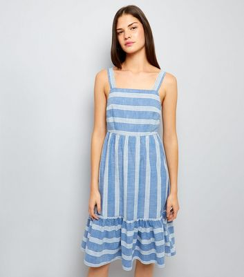 Blue Stripe Frill Hem Midi Dress