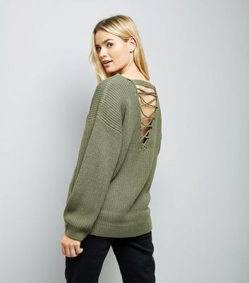 Olive Green Lattice Back Ribbed Jumper
