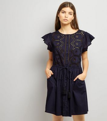 Navy Cut Out Short Sleeve Skater Dress