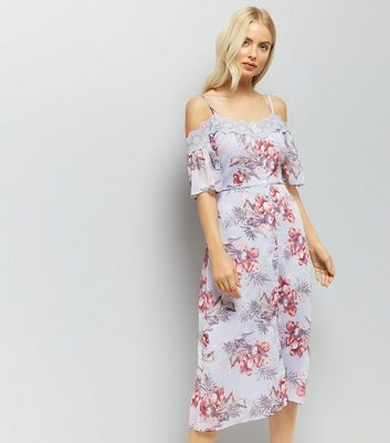 Lilac Floral Print Lace Trim Cold Shoulder Midi Dress