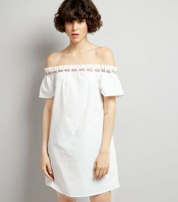White Embroidered Trim Cold Shoulder Dress