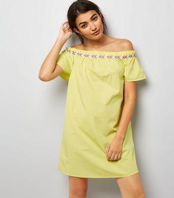 Green Neon Embroidered Trim Cold Shoulder Dress