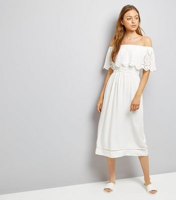 White Cut Out Frill Trim Bardot Neck Midi Dress