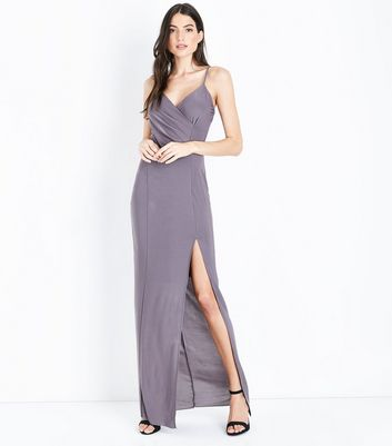 AX Paris Pewter V Neck Split Front Maxi Dress