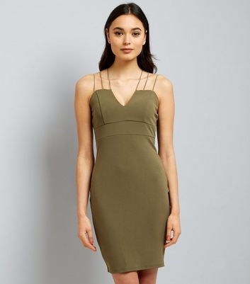 AX Paris Olive Green Strappy Dress
