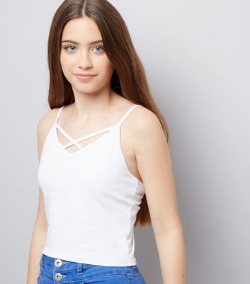 Teens White Lattice Front Cami