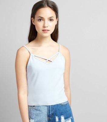 Teens Pale Blue Cross Front Cami