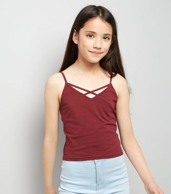 Teens Burgundy Lattice Front Cami