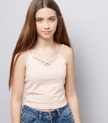 Teens Shell Pink Lattice Front Cami