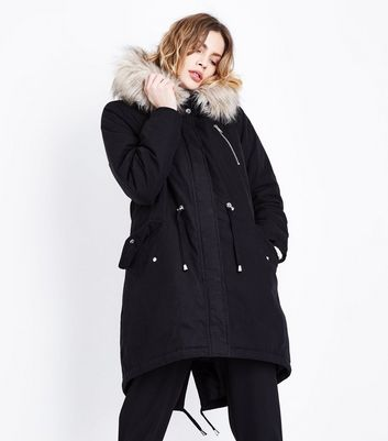 Black Faux Fur Trim Hooded Fishtail Parka | New Look