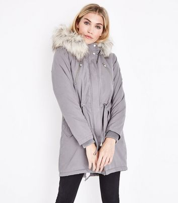Grey Faux Fur Trim Hooded Fishtail Parka