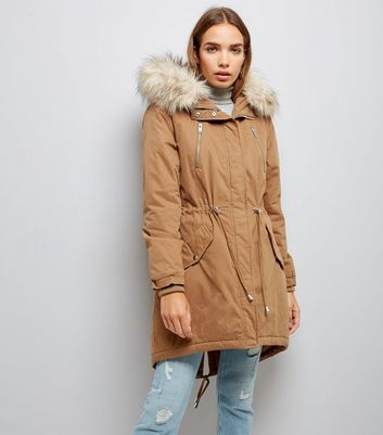 Camel Faux Fur Trim Hooded Fishtail Parka