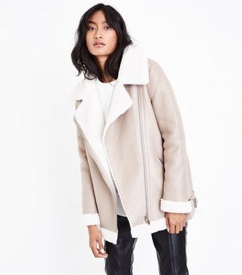 Cream Faux Fur Lined Aviator Jacket