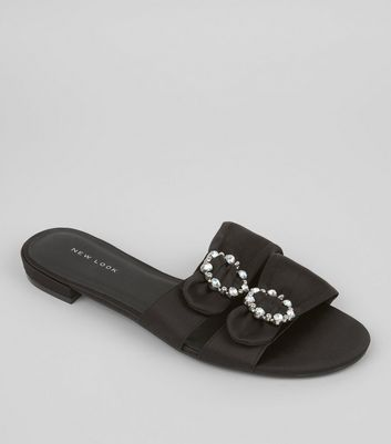 Black Satin Diamante Circle Mules