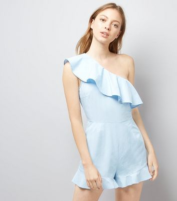 Pale Blue Frill Trim Off the Shoulder Playsuit