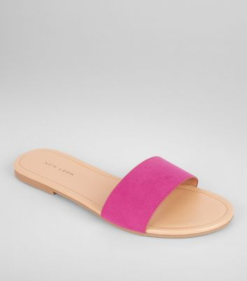 Pink Suedette Mules
