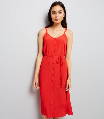Red Button Front Tie Waist Midi Dress