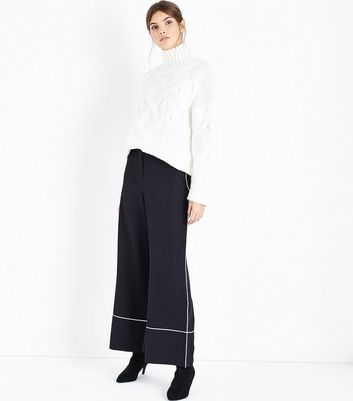 Black Piped Trim Wide Leg Trousers